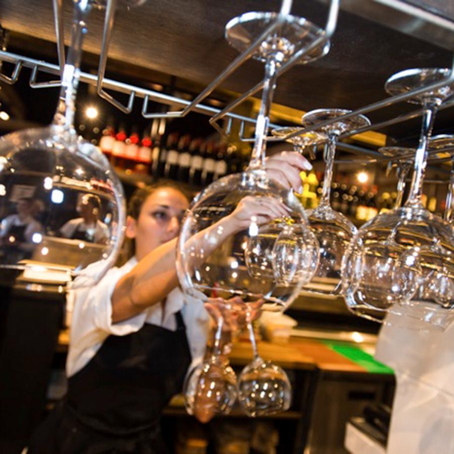 Wine glasses at Veeno
