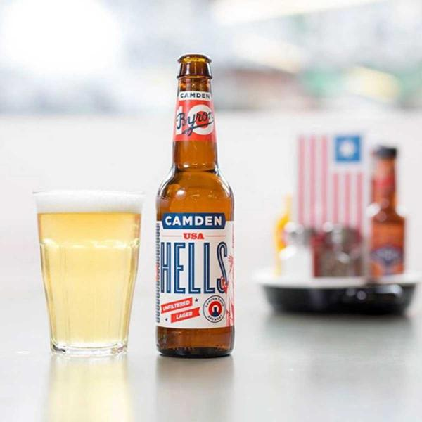 Byron Hells Lager beer in city of London